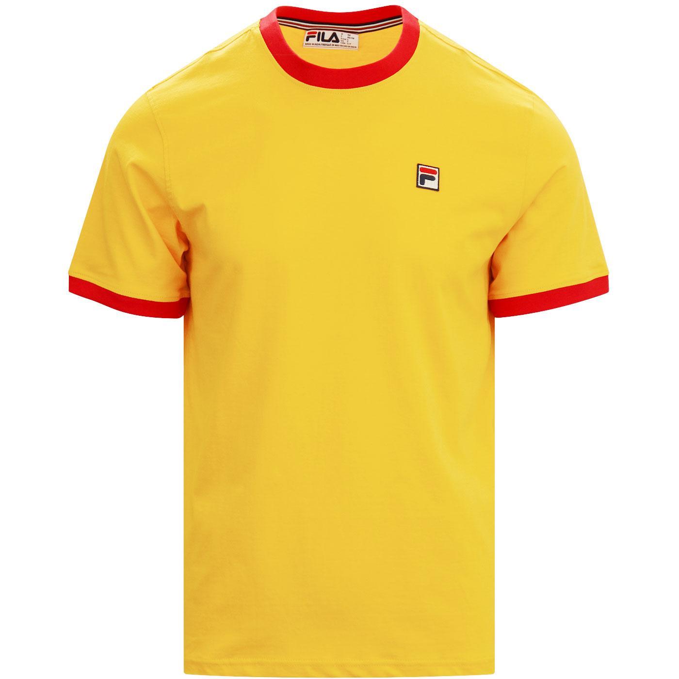 Marconi FILA VINTAGE Retro 70s Ringer T-shirt GOLD