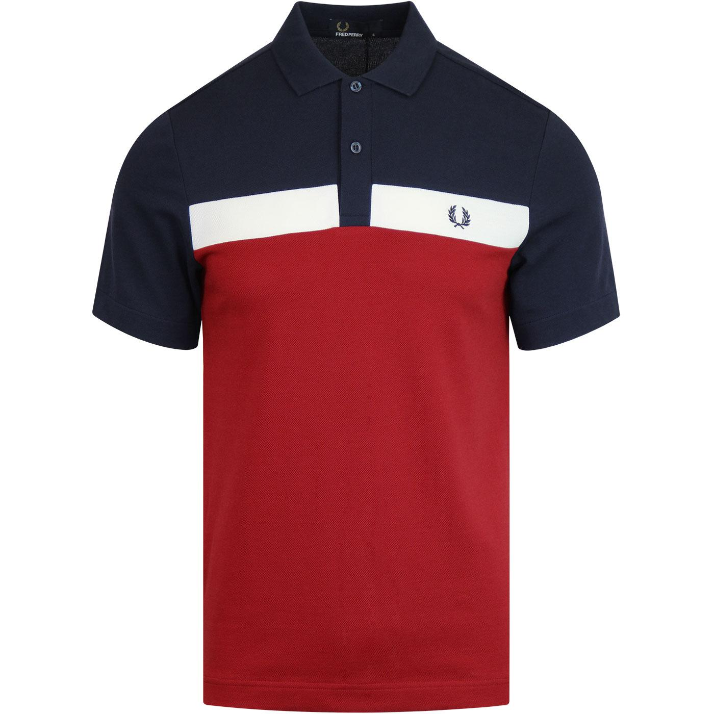 FRED PERRY Contrast Panel Mod Pique Polo RICH RED