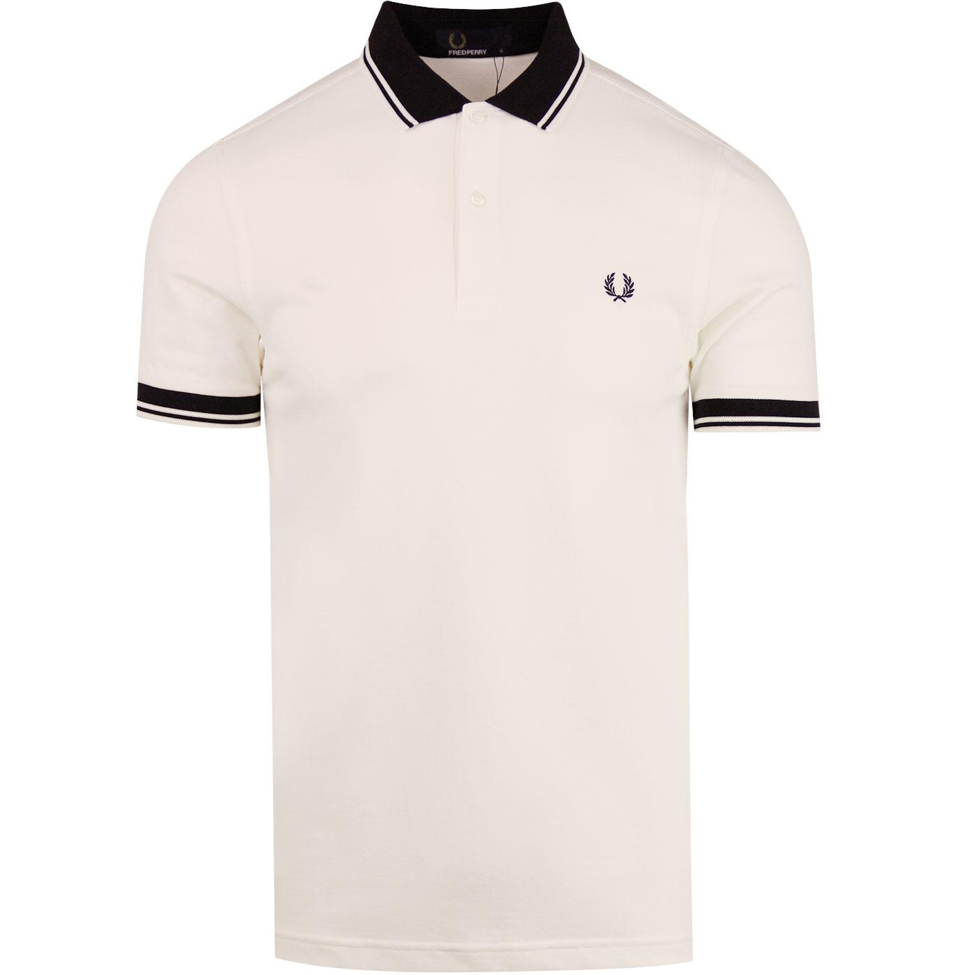 Contrast Rib FRED PERRY Pique Twin Tipped Polo Wht