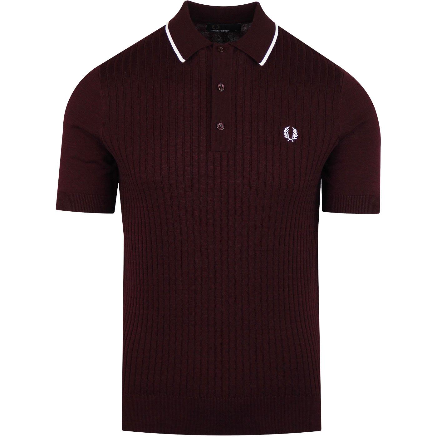FRED PERRY Mod Ribbed Knit Tipped Polo (Mahogany)