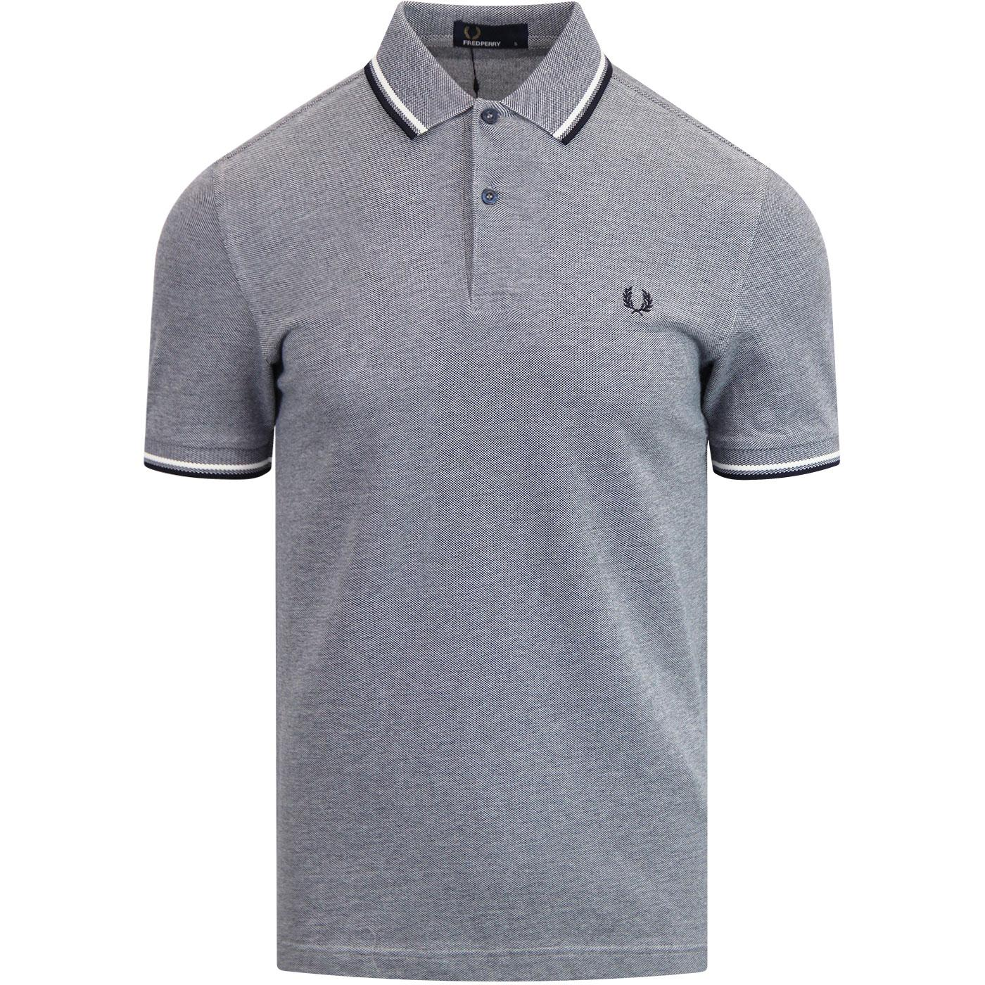 M3600 FRED PERRY Twin Tipped Mod Carbon Blue Polo