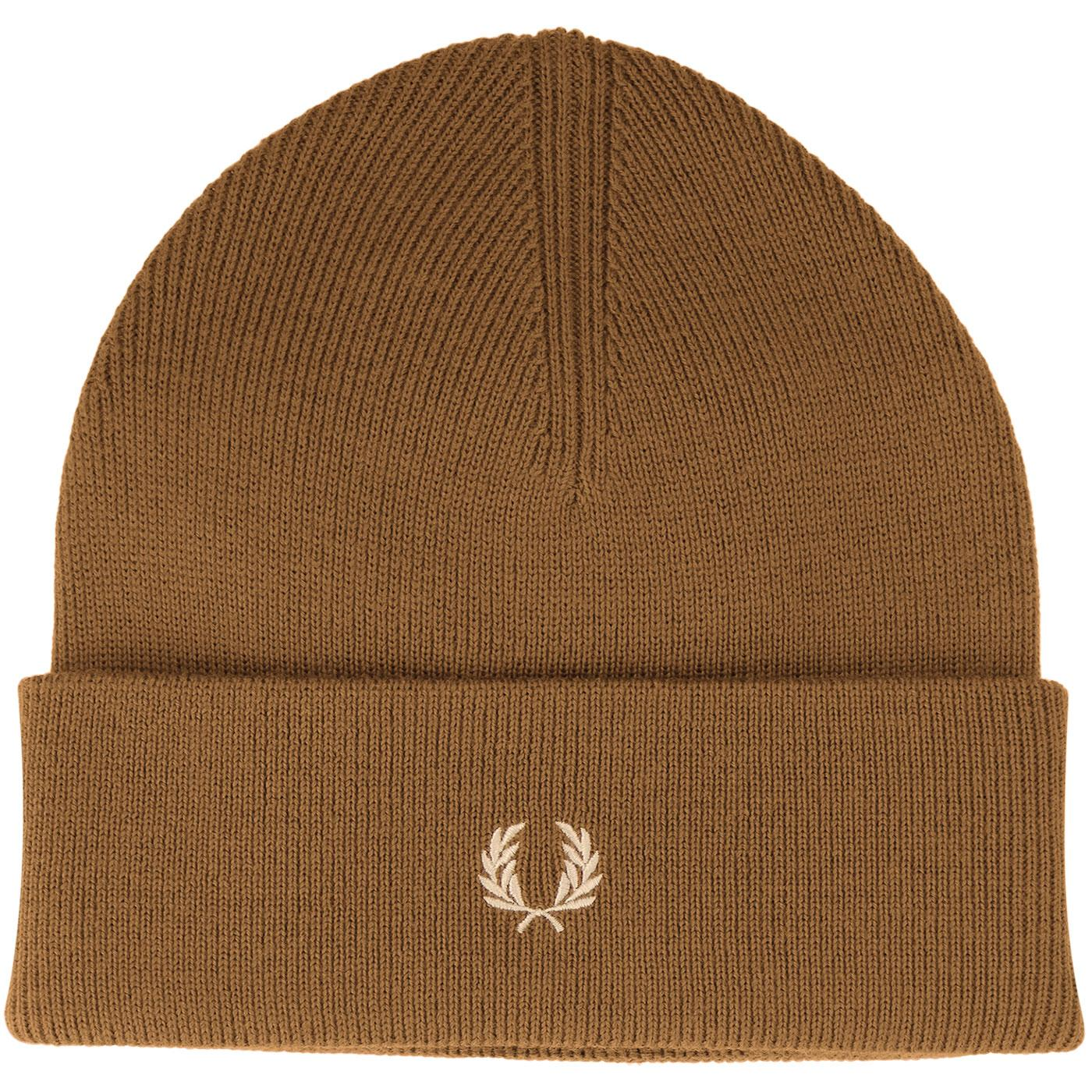 FRED PERRY Merino Wool Knitted Logo Beanie Hat (C)
