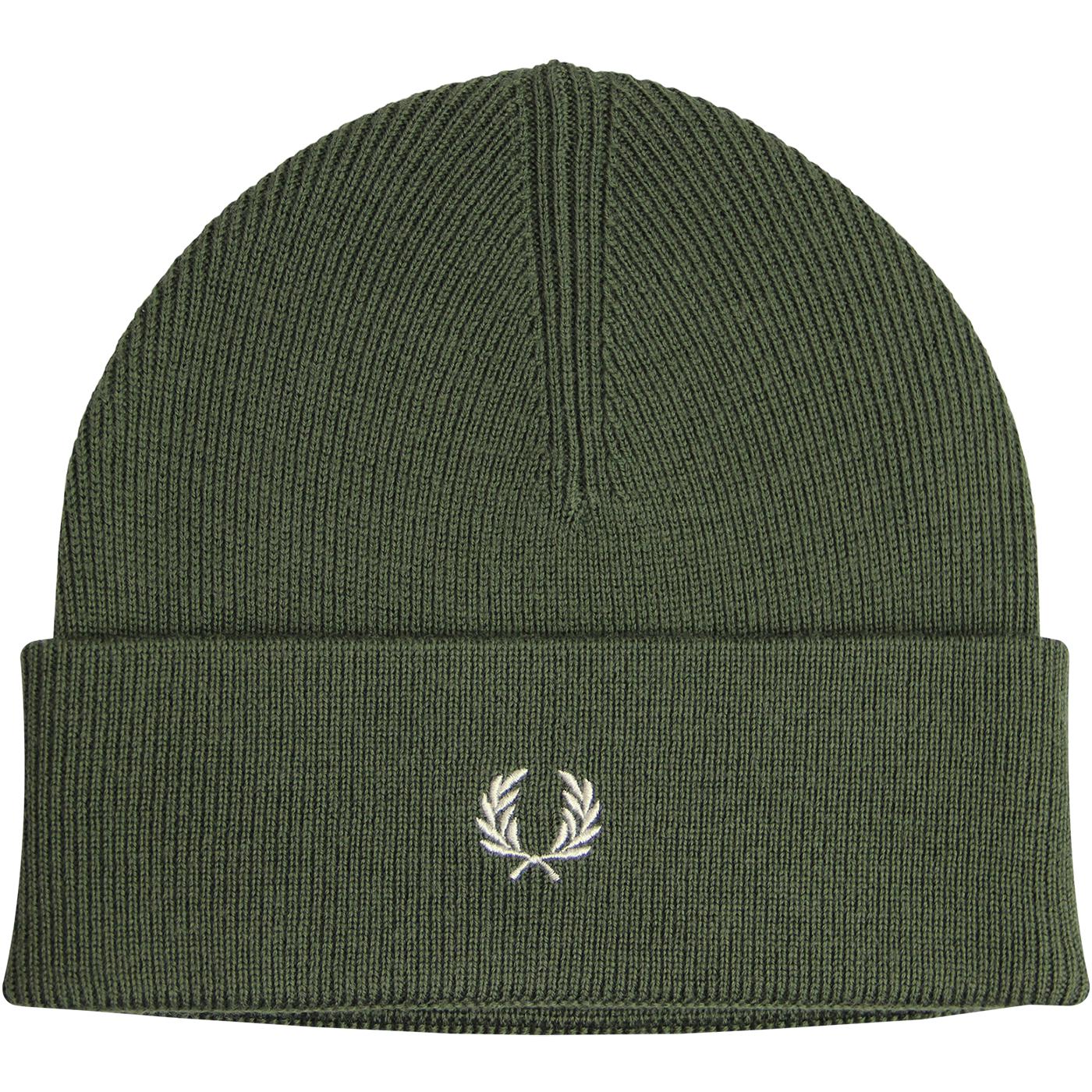 FRED PERRY Merino Wool Knitted Logo Beanie Hat (O)