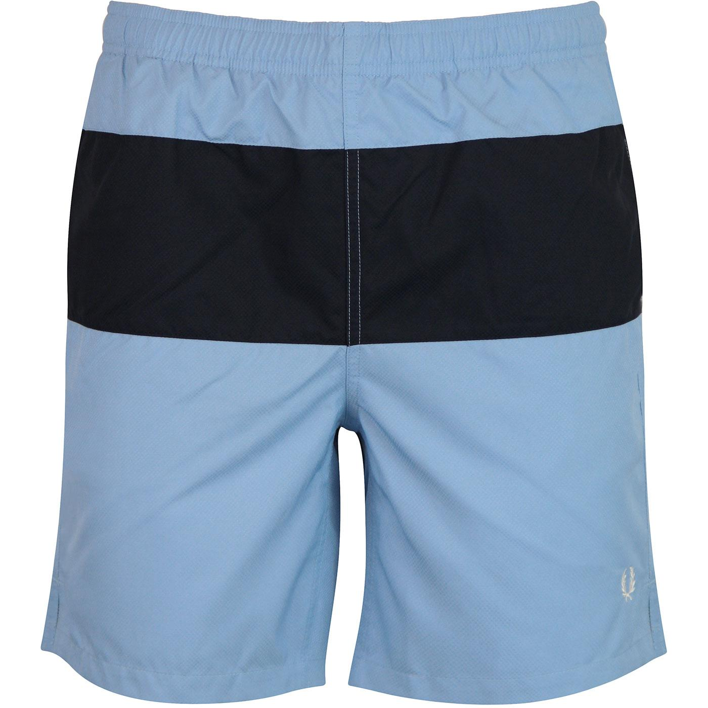 FRED PERRY Retro Contrast Panelled Swim Shorts SKY