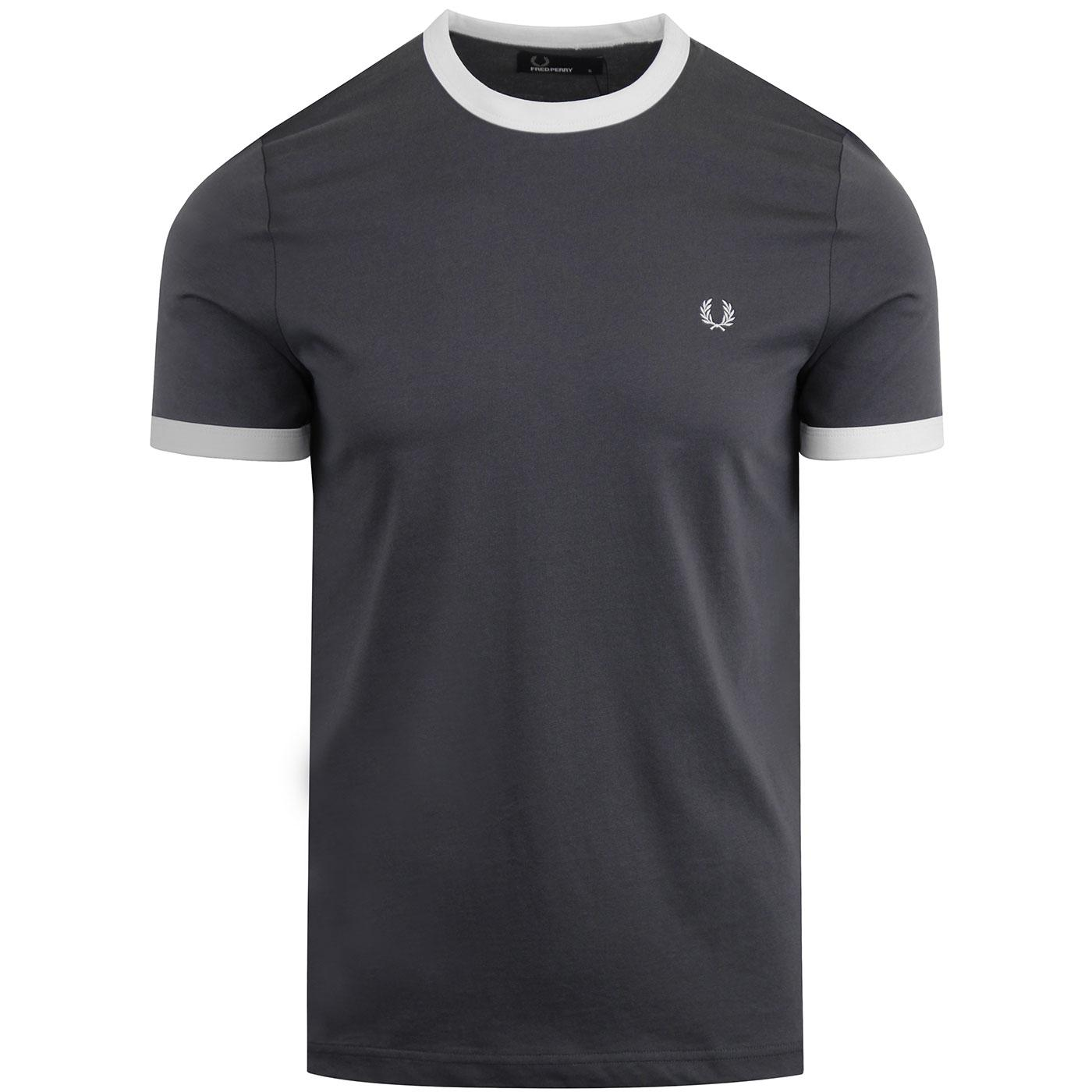 FRED PERRY Men's Retro Ringer T-shirt (Charcoal)
