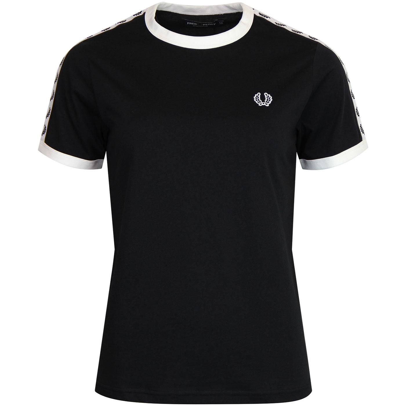 FRED PERRY Women's Taped Contrast Ringer Tee BLACK