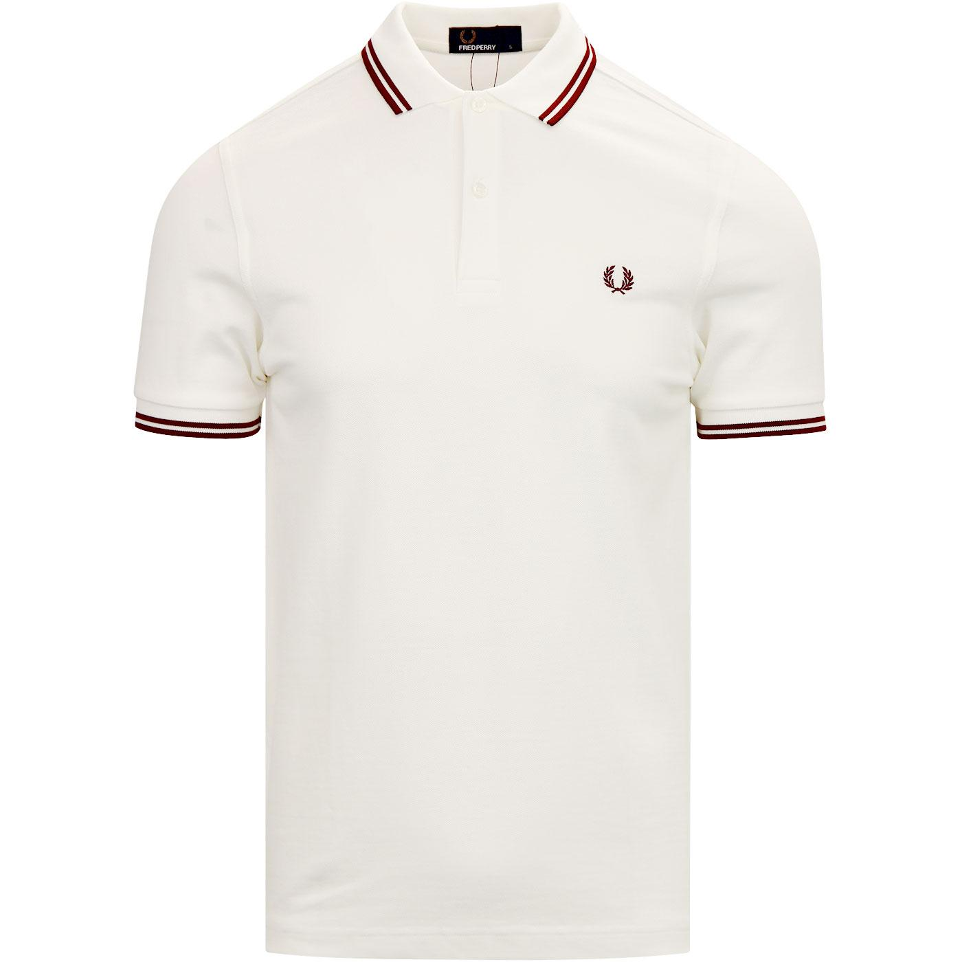 FRED PERRY M3600 Men's Twin Tipped Polo SNOW WHITE