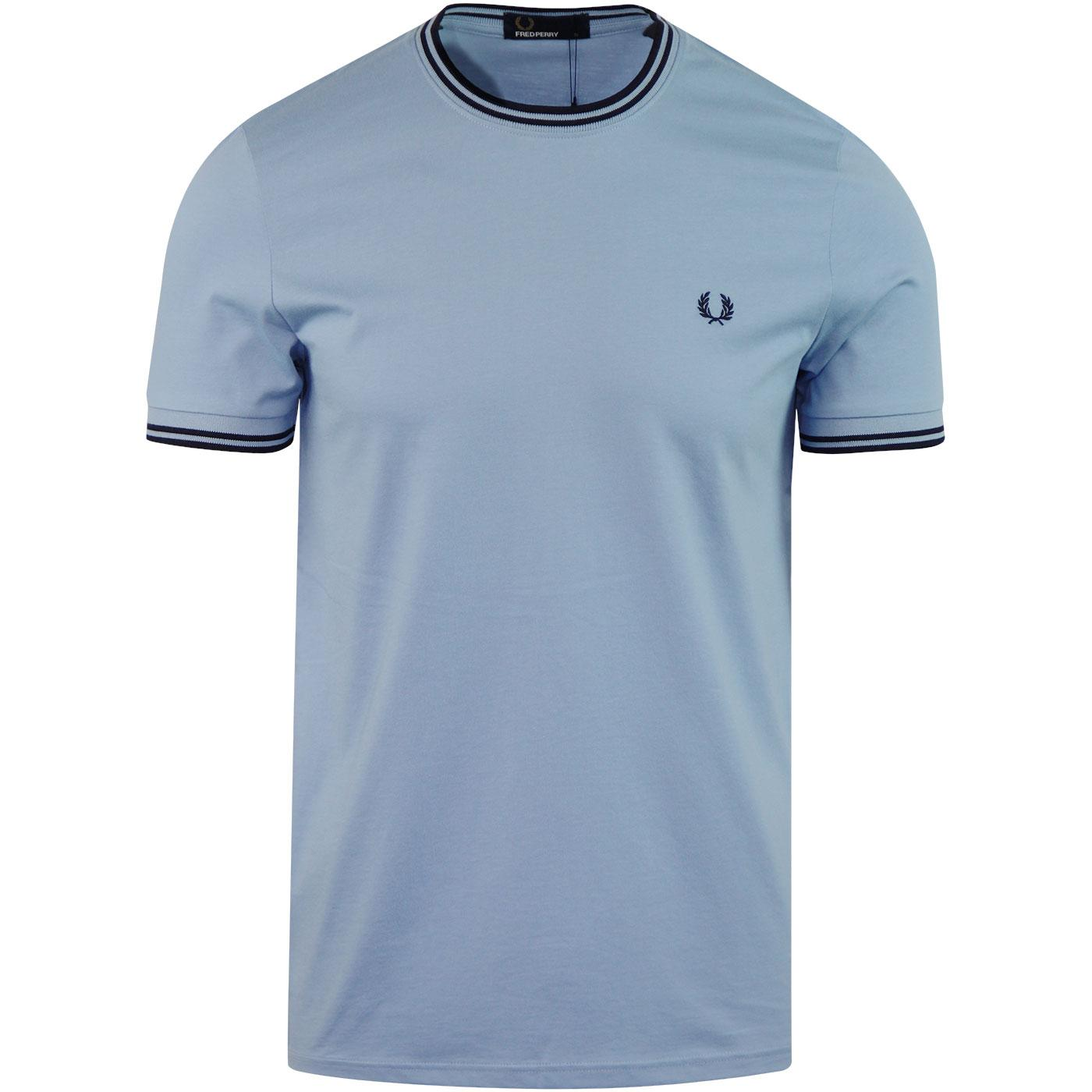 FRED PERRY Retro Mod Twin Tipped Crew T-shirt SKY