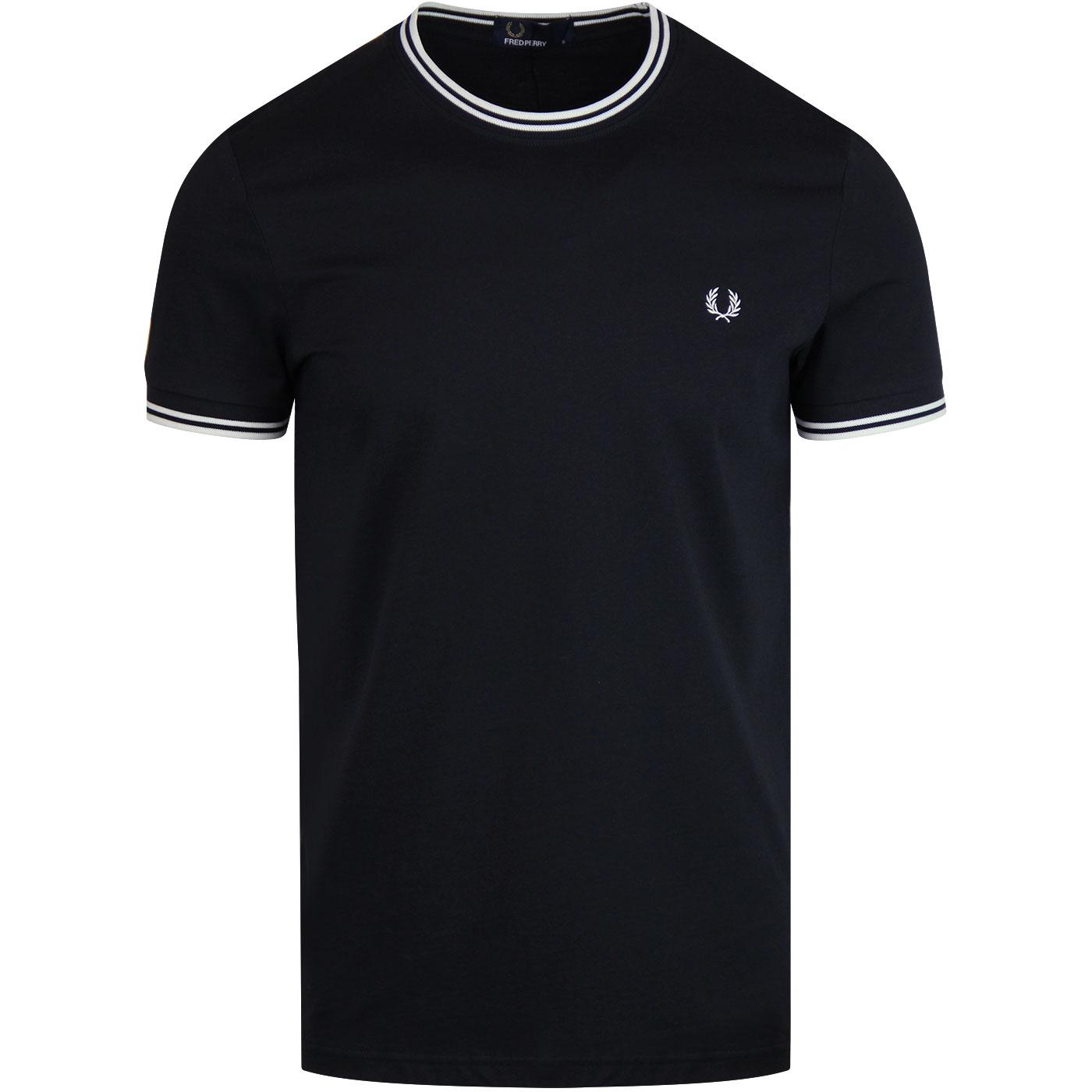 FRED PERRY Twin Tipped Mod Crew Neck T-Shirt NAVY