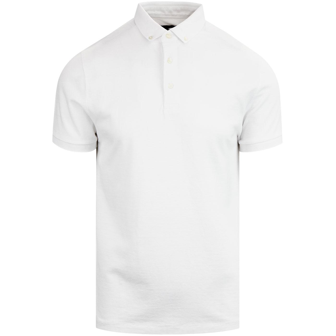 Parched FRENCH CONNECTION Mod Textured Polo WHITE