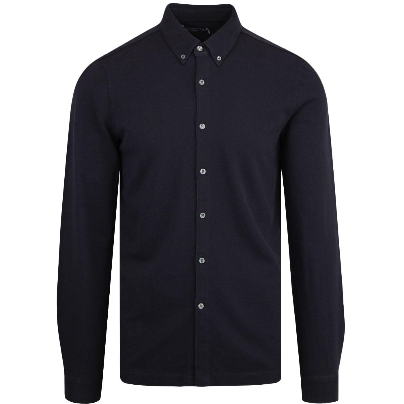 FRENCH CONNECTION L/S Pique Mod Shirt UTILITY BLUE