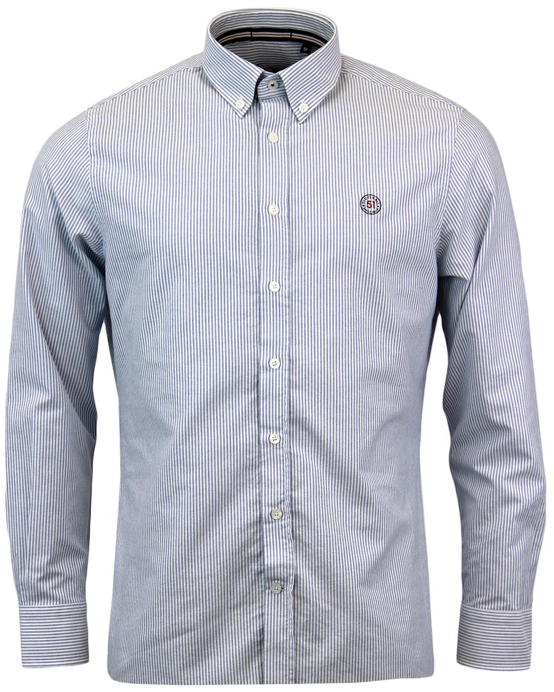 GLOVERALL Retro Sixties Mod Stripe Oxford Shirt