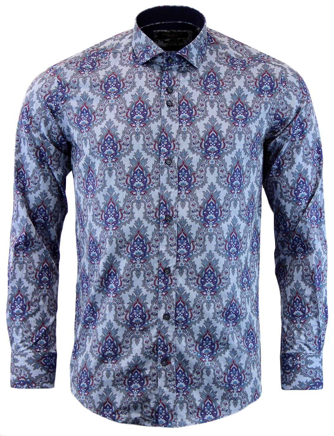 GUIDE LONDON Retro 1960s Mod Floral Paisley Shirt