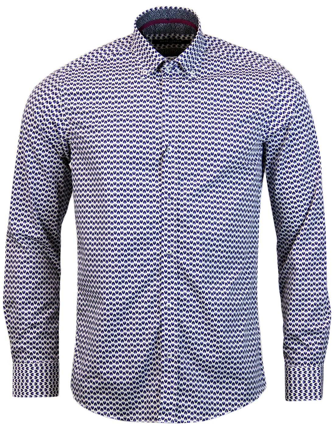 GUIDE LONDON Retro Op Art Tear Drop Print Shirt