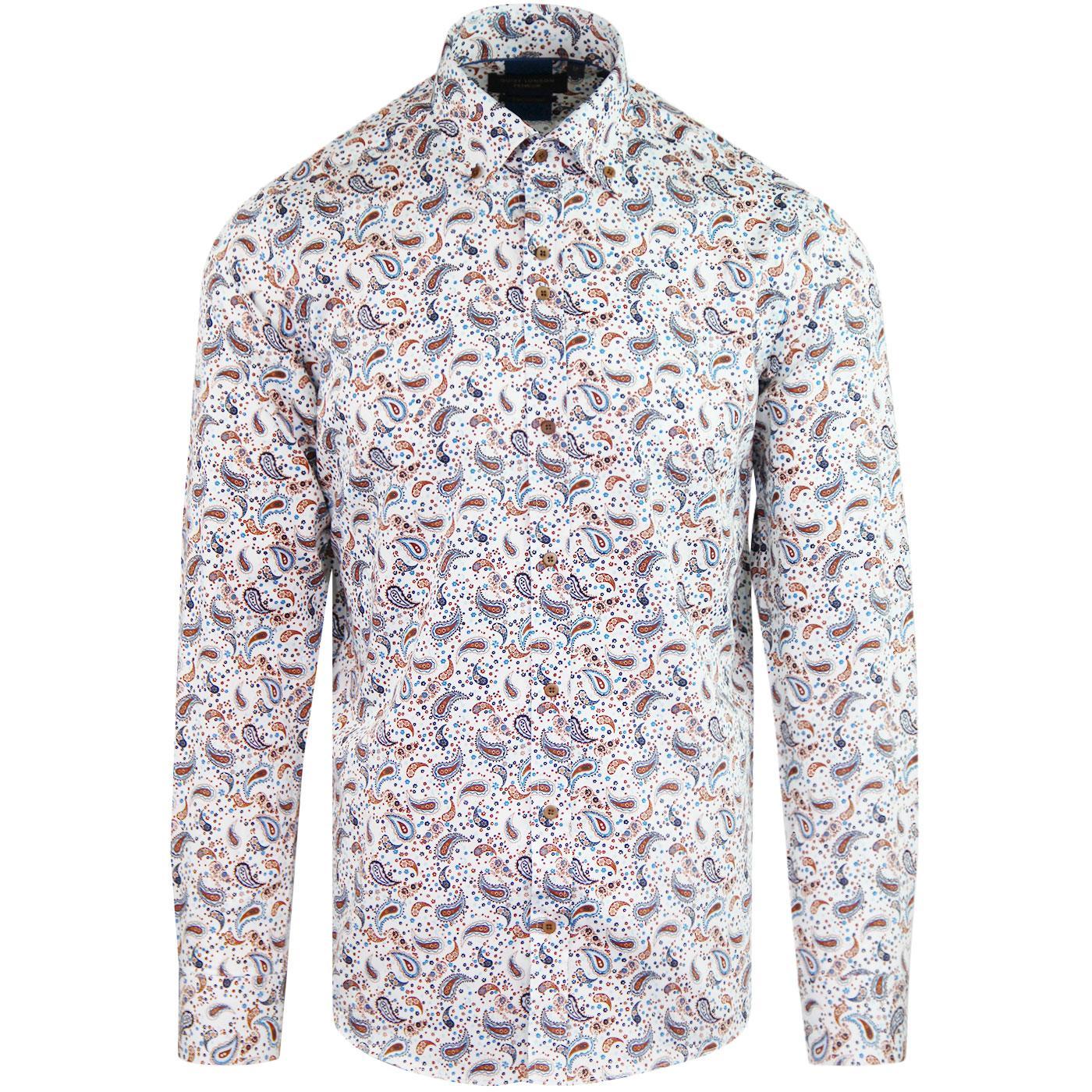GUIDE LONDON 60s Mod Button Down Paisley Shirt (W)