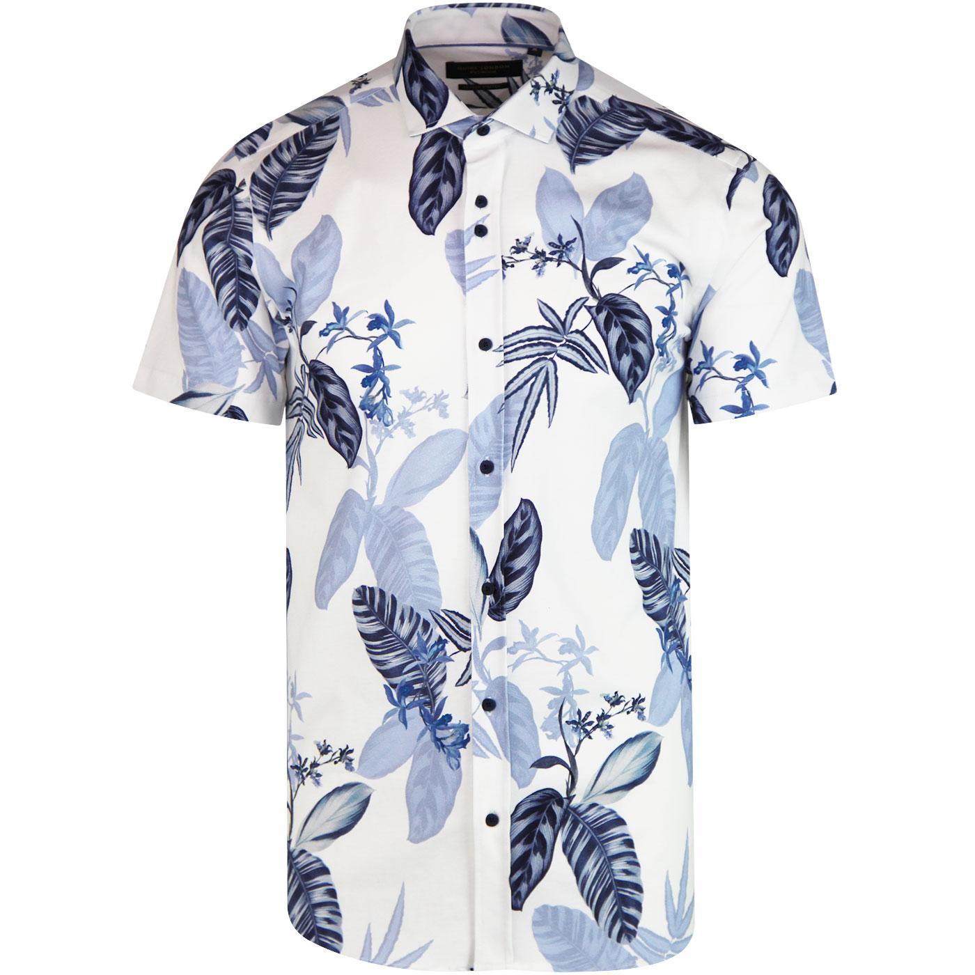 GUIDE LONDON Floral Retro Short Sleeve Shirt Bl/W