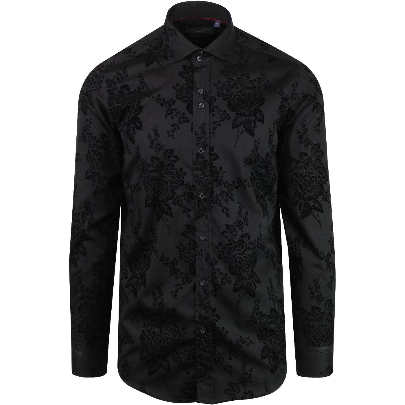 GUIDE LONDON 60s Mod Baroque Floral Shirt (Black)