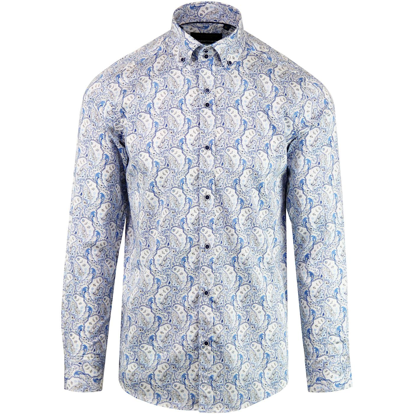 GUIDE LONDON Men's Retro Mod Paisley Dress Shirt