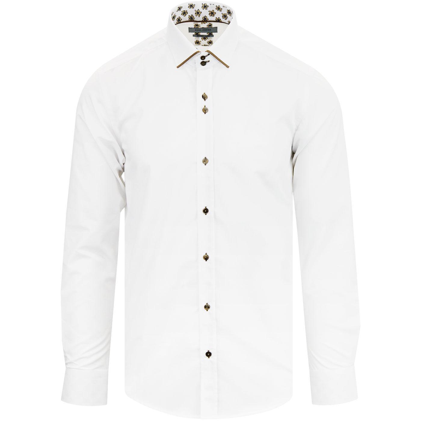 GUIDE LONDON Plain L/S Trimmed Mod Shirt WHITE/TAN