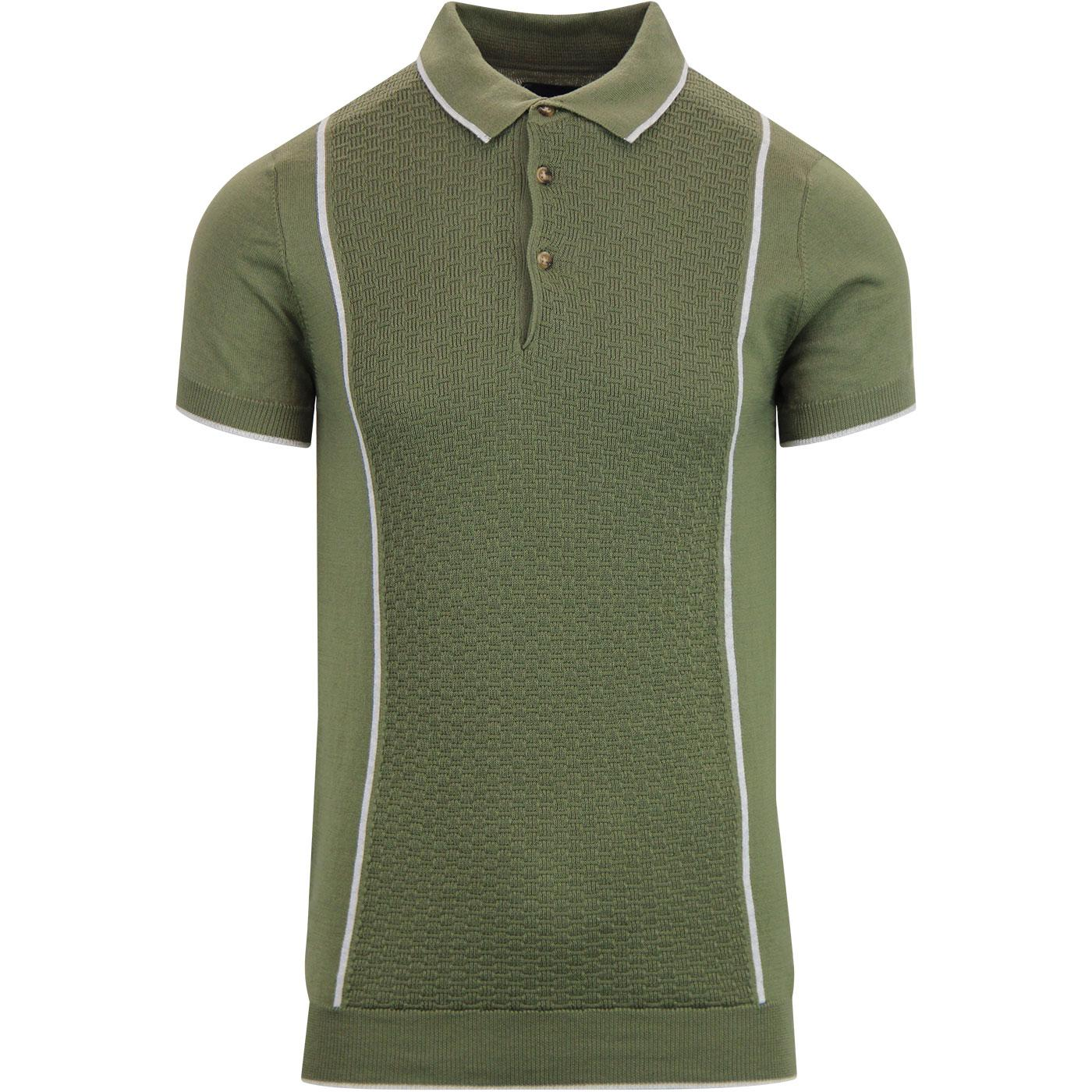 GUIDE LONDON Textured Panel Knitted Mod Polo GREEN