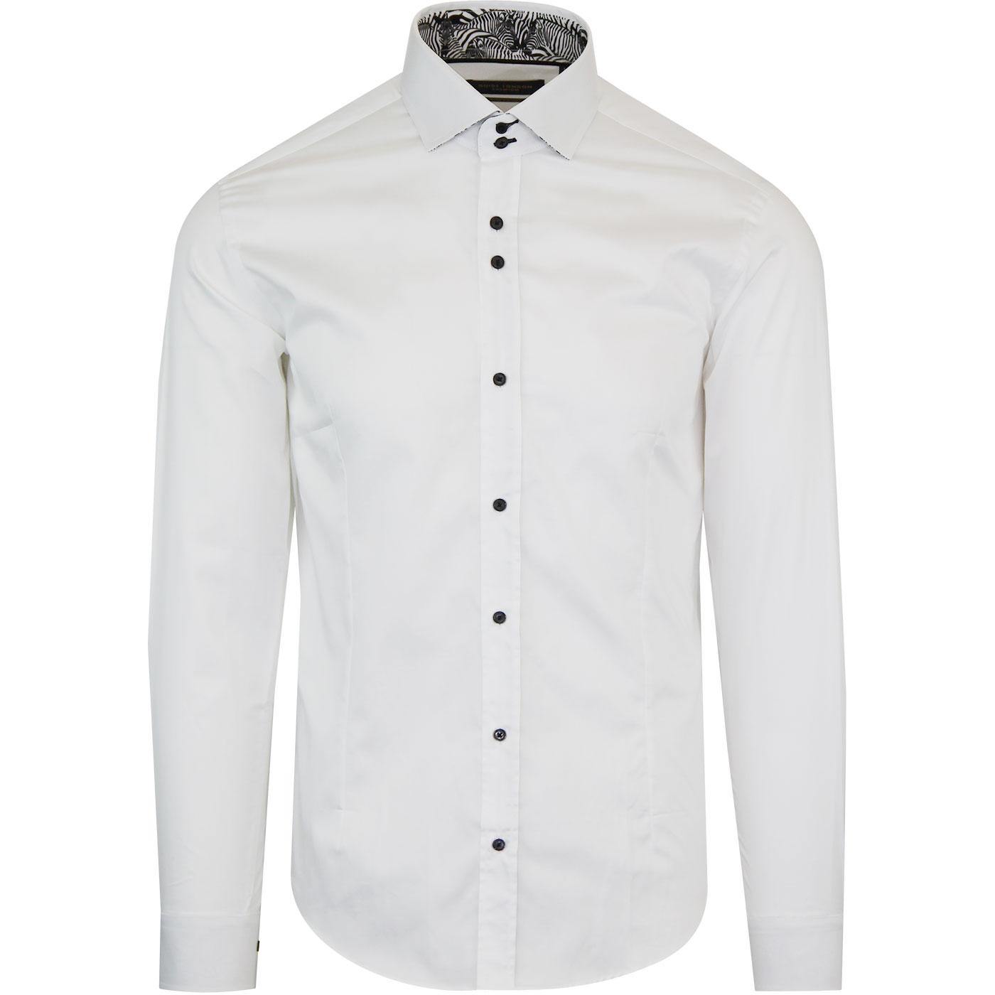 GUIDE LONDON Retro Mod Zebra Trim Shirt (White)
