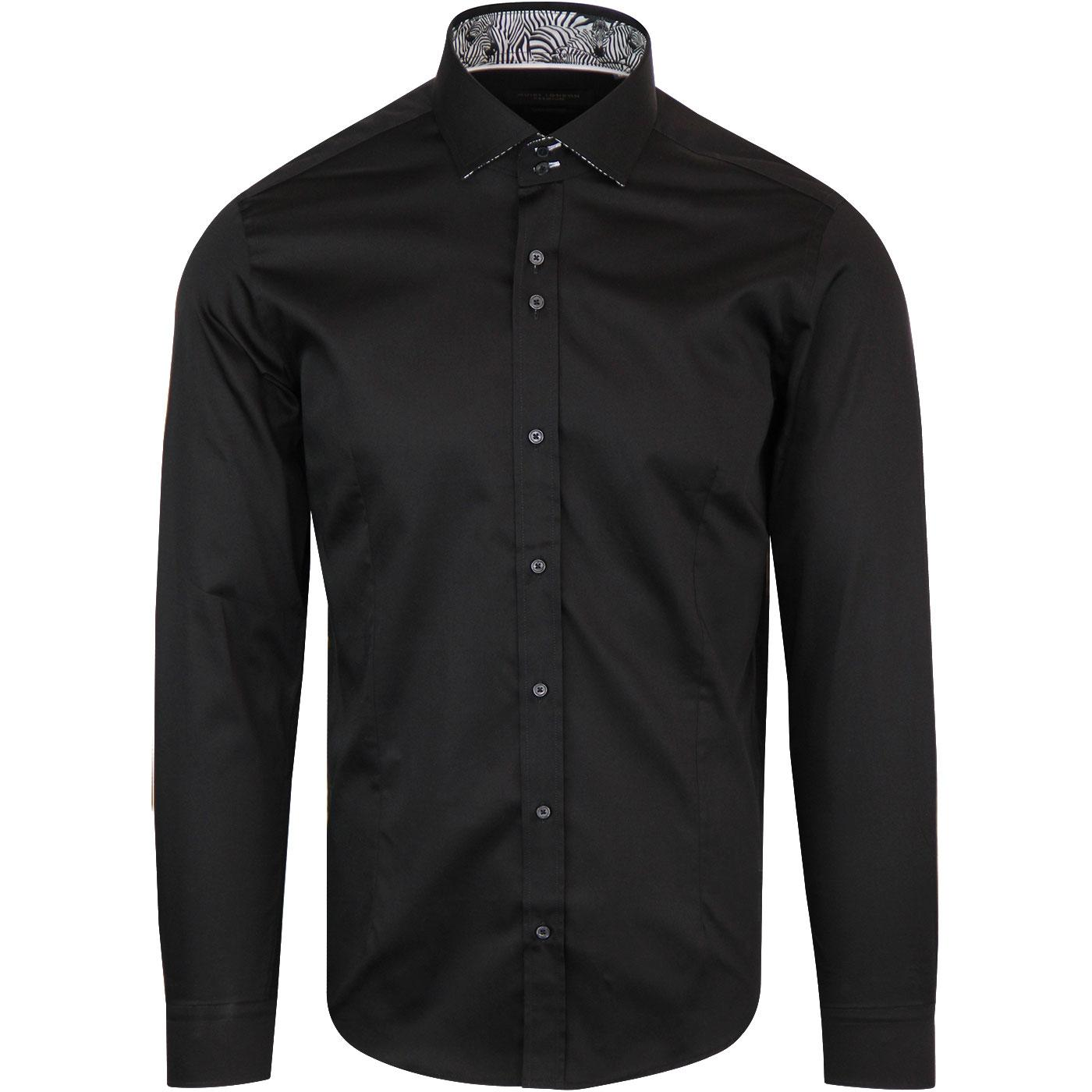 GUIDE LONDON Retro Mod Zebra Trim Shirt (Black)