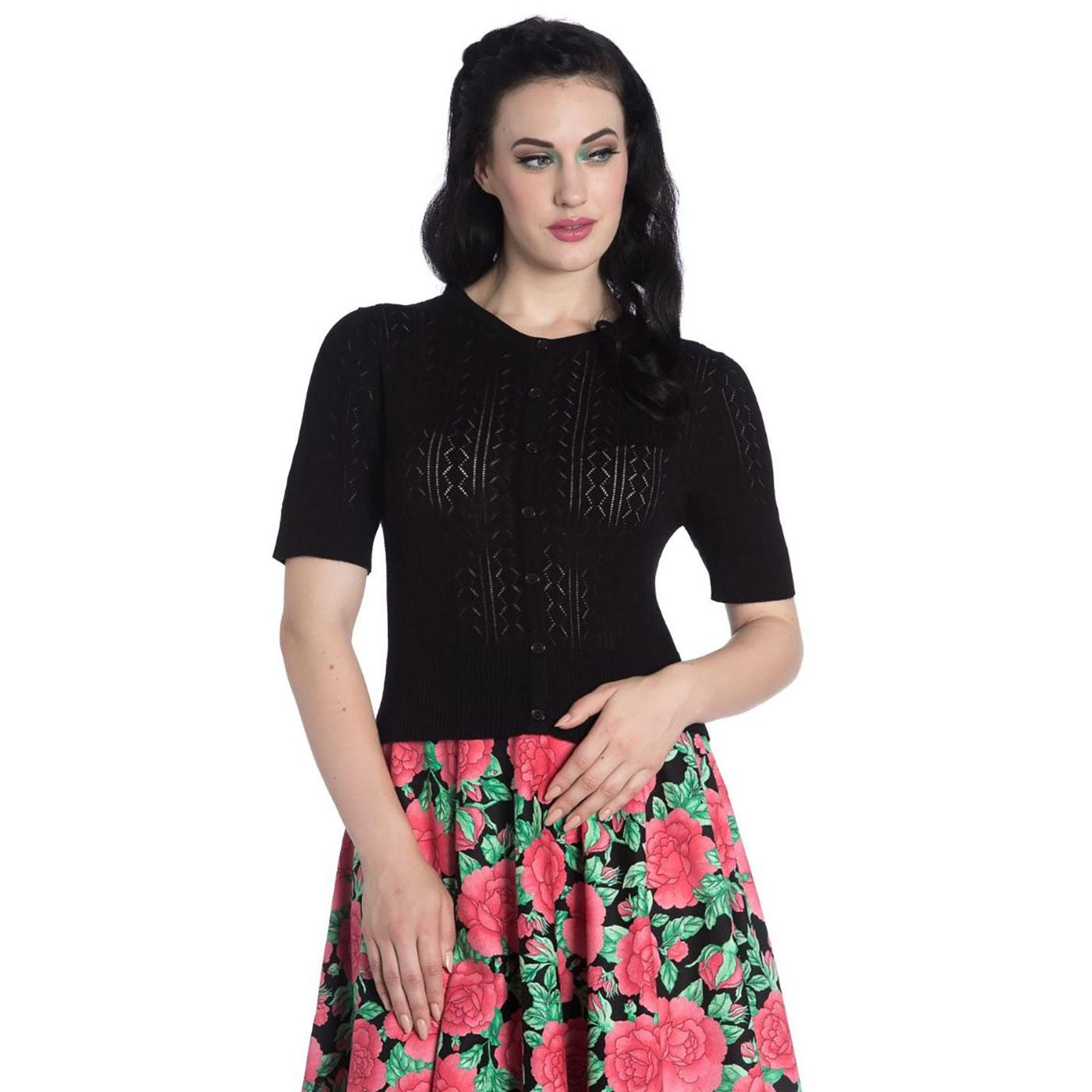 Loretta HELL BUNNY Vintage Knitted Cardigan Black