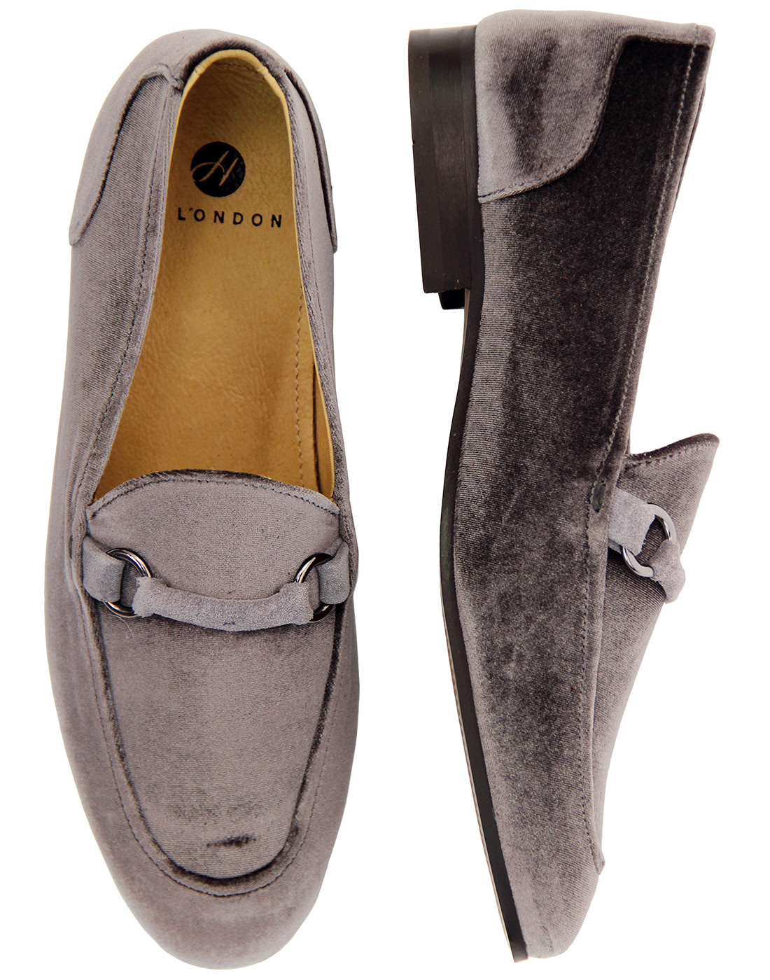 f34ee39329b H By HUDSON Renzo Handcrafted Velvet Loafers in Grey