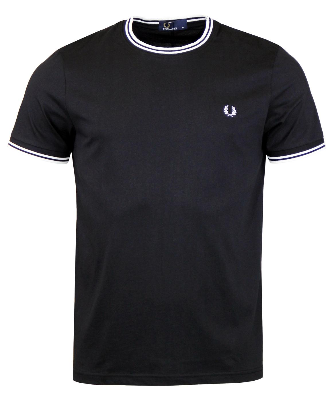 FRED PERRY Retro Twin Tipped Crew T-shirt in Black