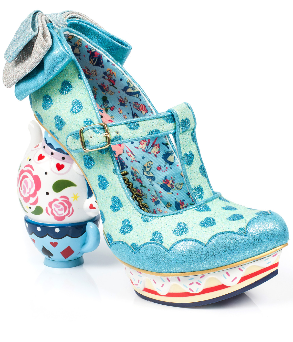 02a20463faeb IRREGULAR CHOICE My Cup Of Tea Alice in Wonderland Heels Blue