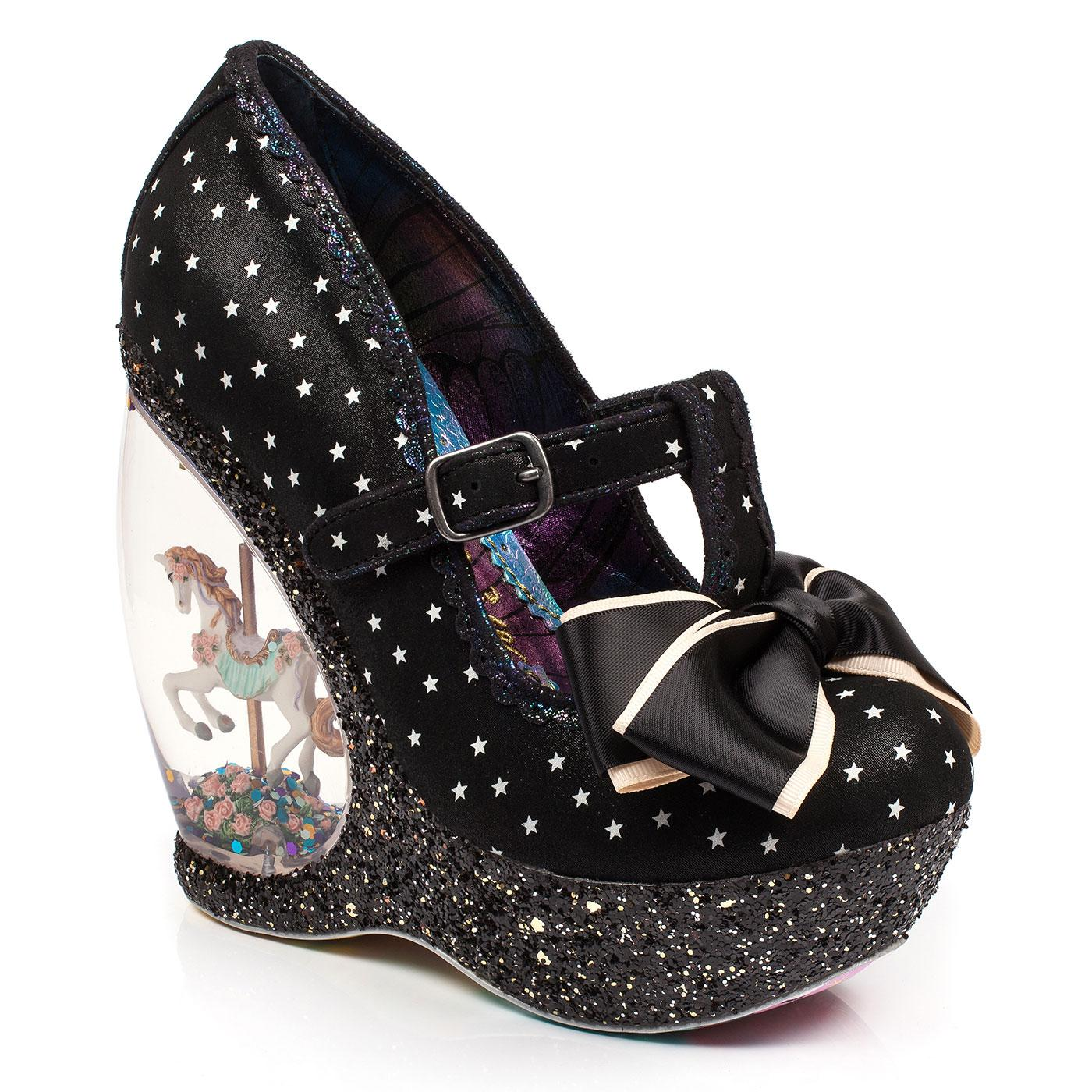 Chestnut IRREGULAR CHOICE Retro Carousel Wedges Black