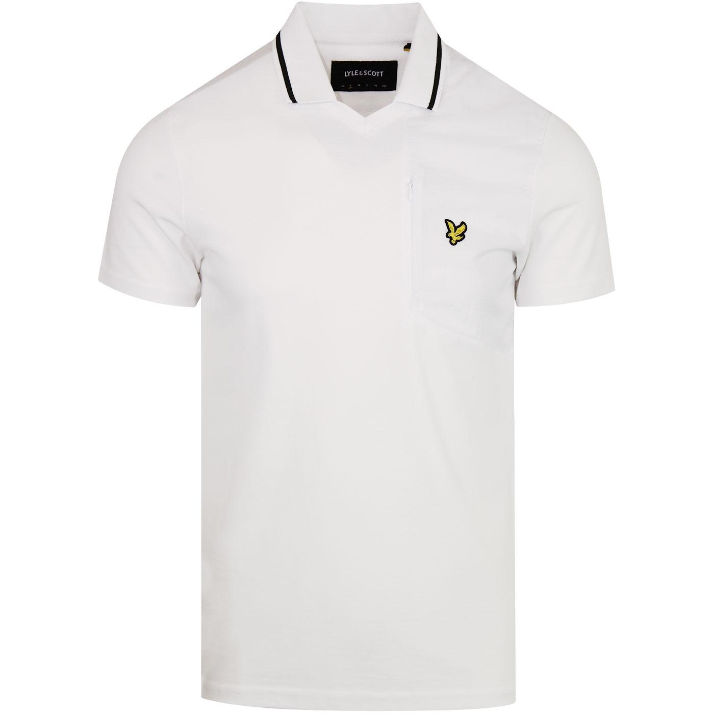 LYLE & SCOTT Retro 70s Football Polo Shirt WHITE