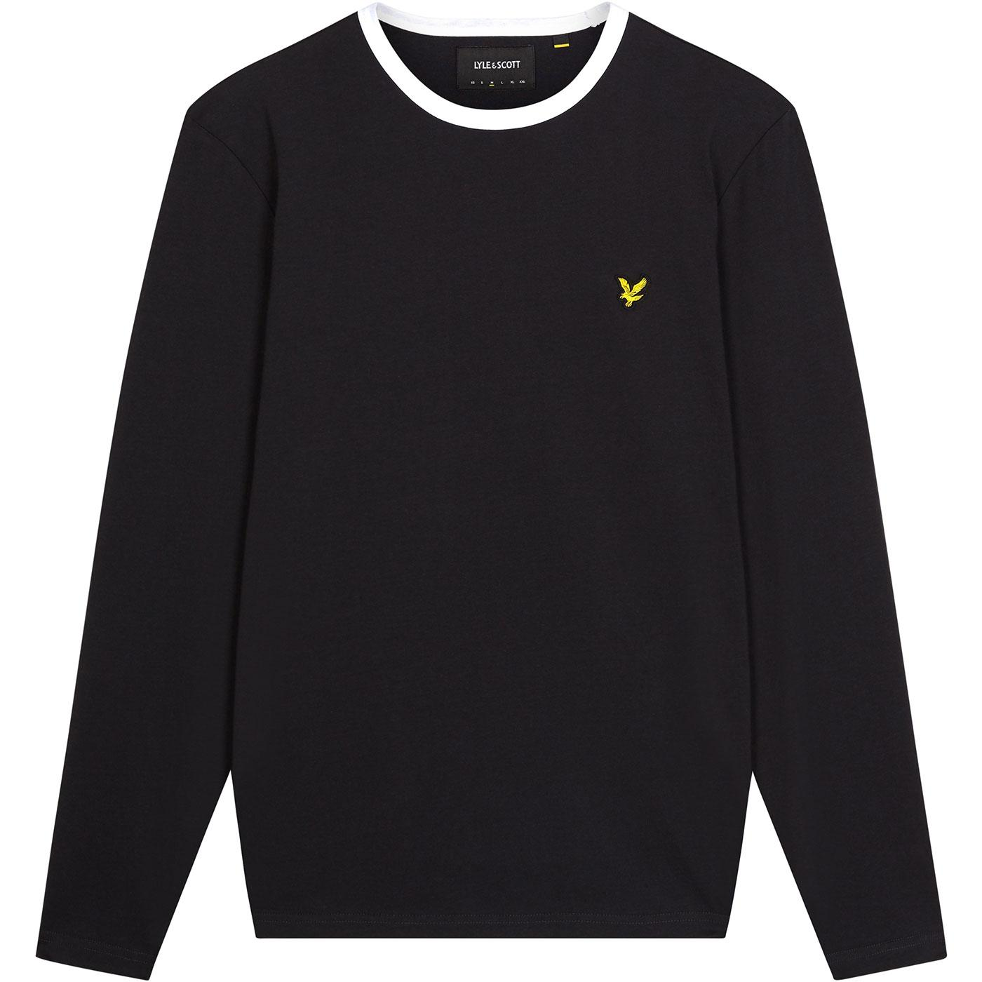 LYLE & SCOTT Retro Long Sleeve Ringer Tee - Black