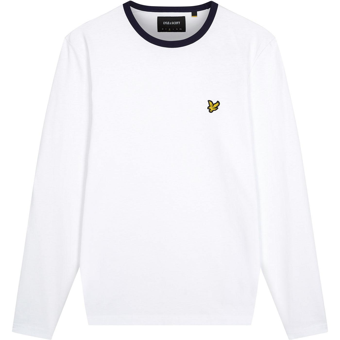 LYLE & SCOTT Retro Long Sleeve Ringer Tee - White