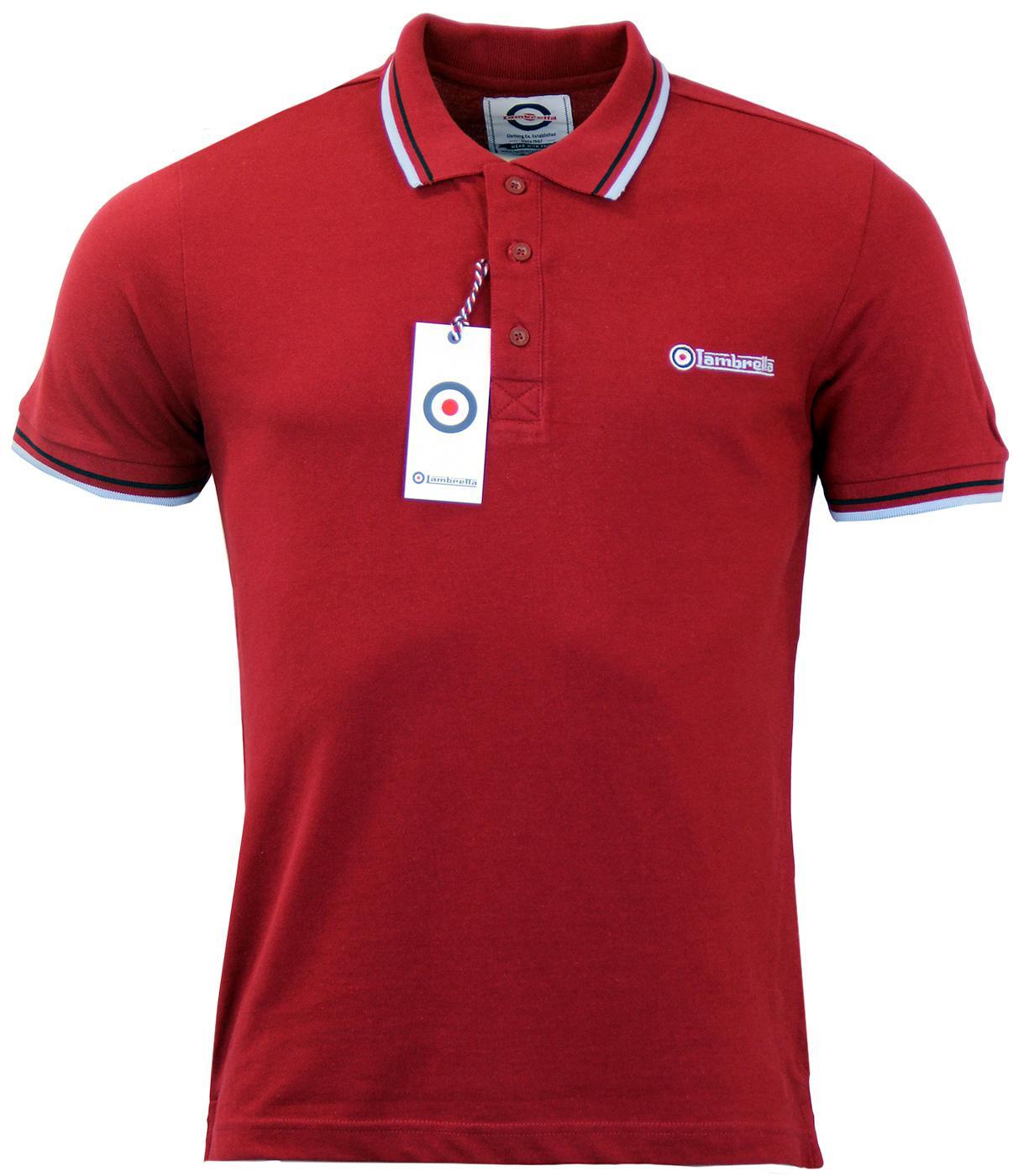 LAMBRETTA Retro Indie Mod Tipped Pique Polo Shirt In Burgundy d2fa45dd8