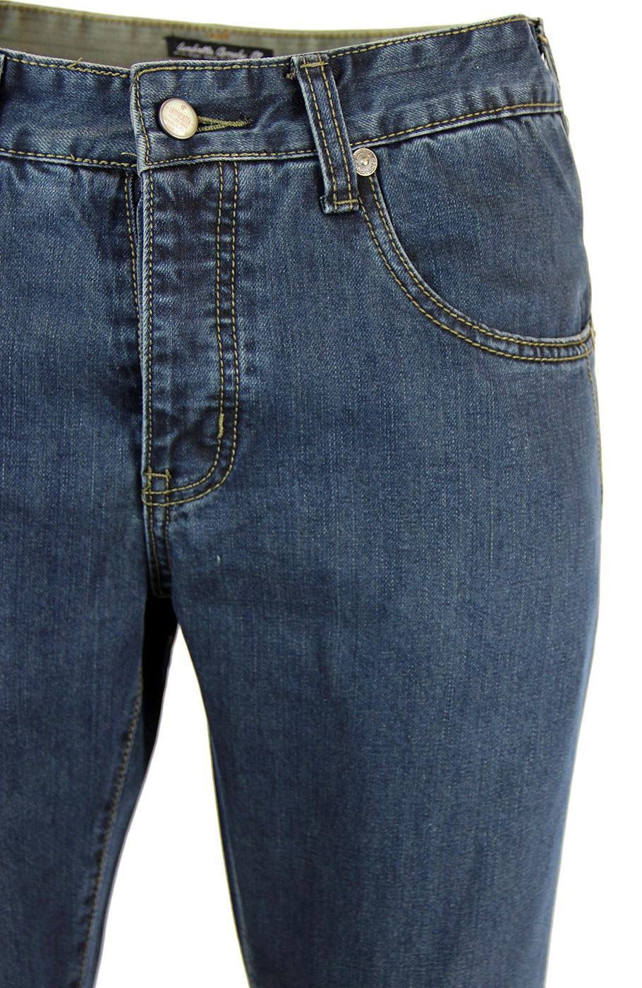 f7ffa578f2f LAMBRETTA Mens Retro Indie Target Pocket Jeans in Overdye