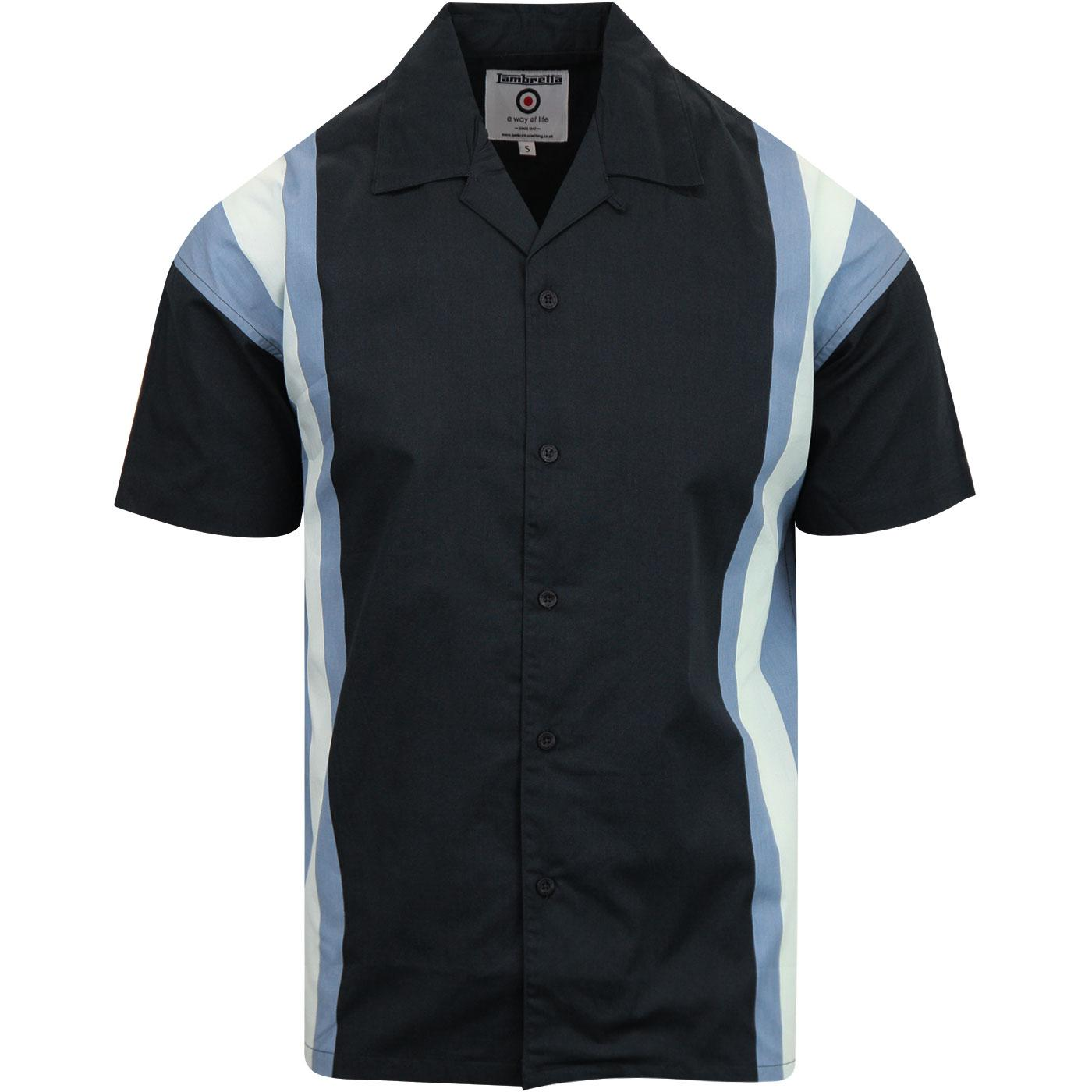 LAMBRETTA Retro Northern Soul Bowling Shirt NAVY