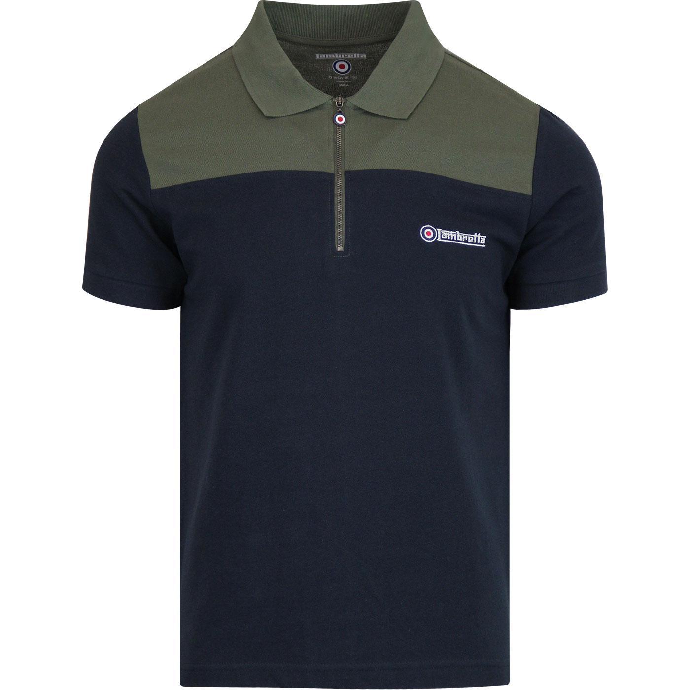 LAMBRETTA Retro Mod 1/4 Zip Up Pique Polo Shirt N