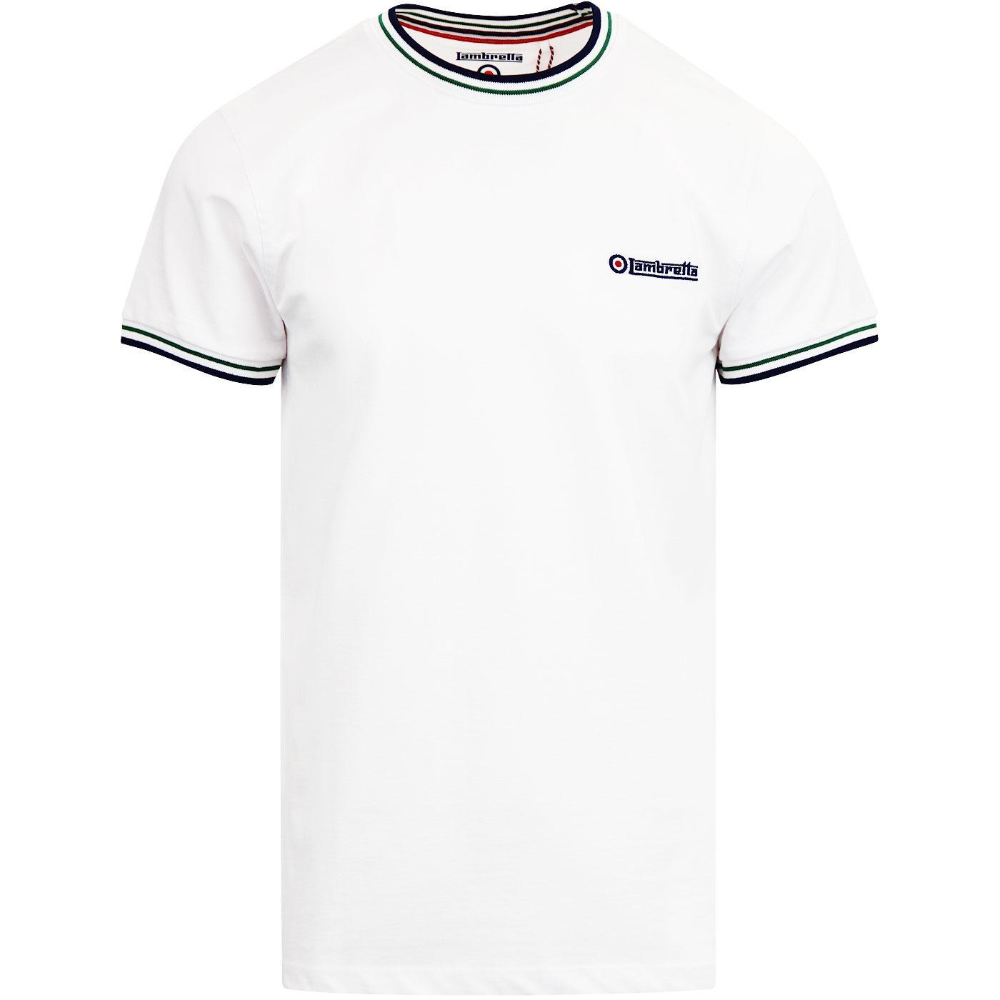 LAMBRETTA Men's Retro Tipped Pique T-shirt WHITE