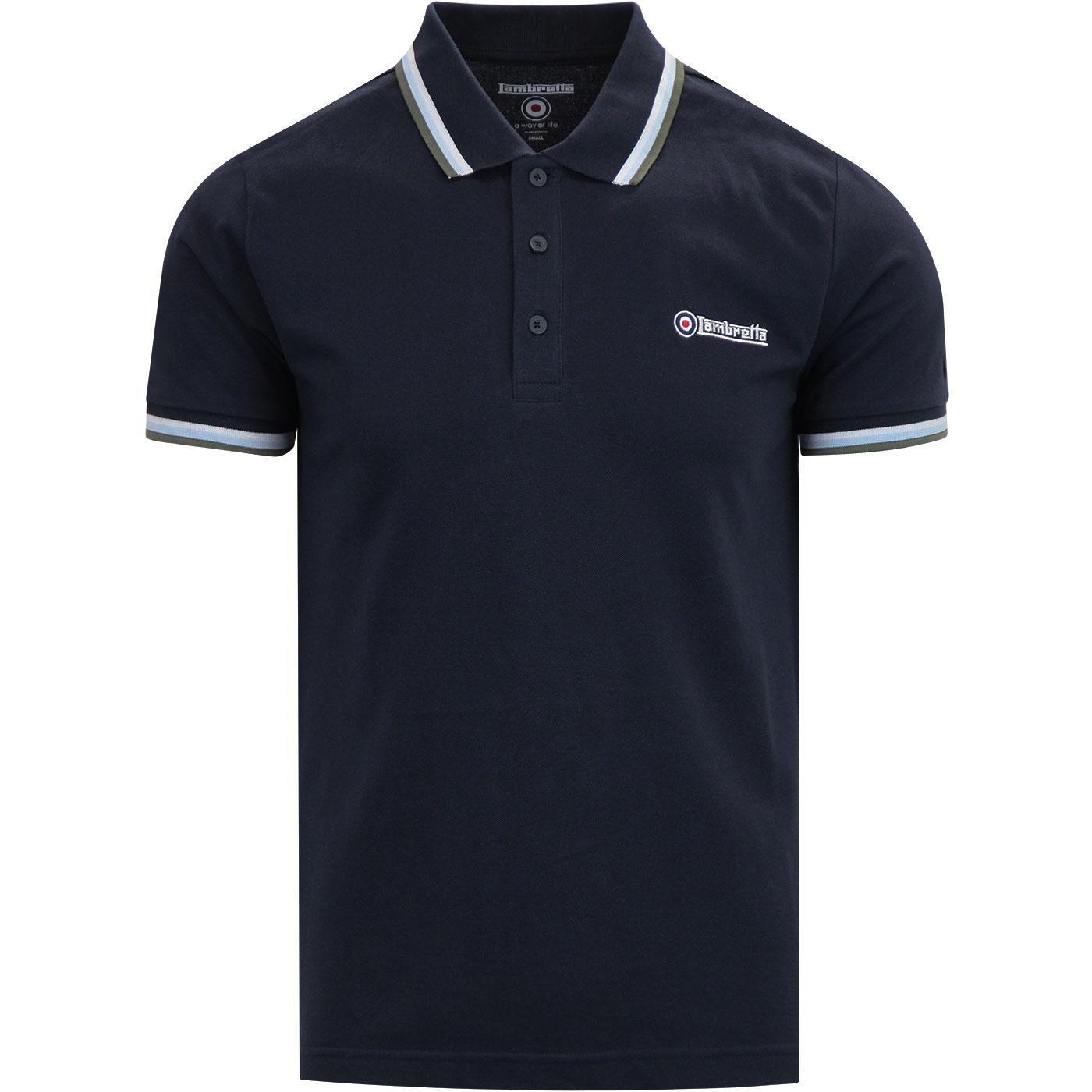 LAMBRETTA Triple Tipped Mod Pique Polo Shirt NAVY