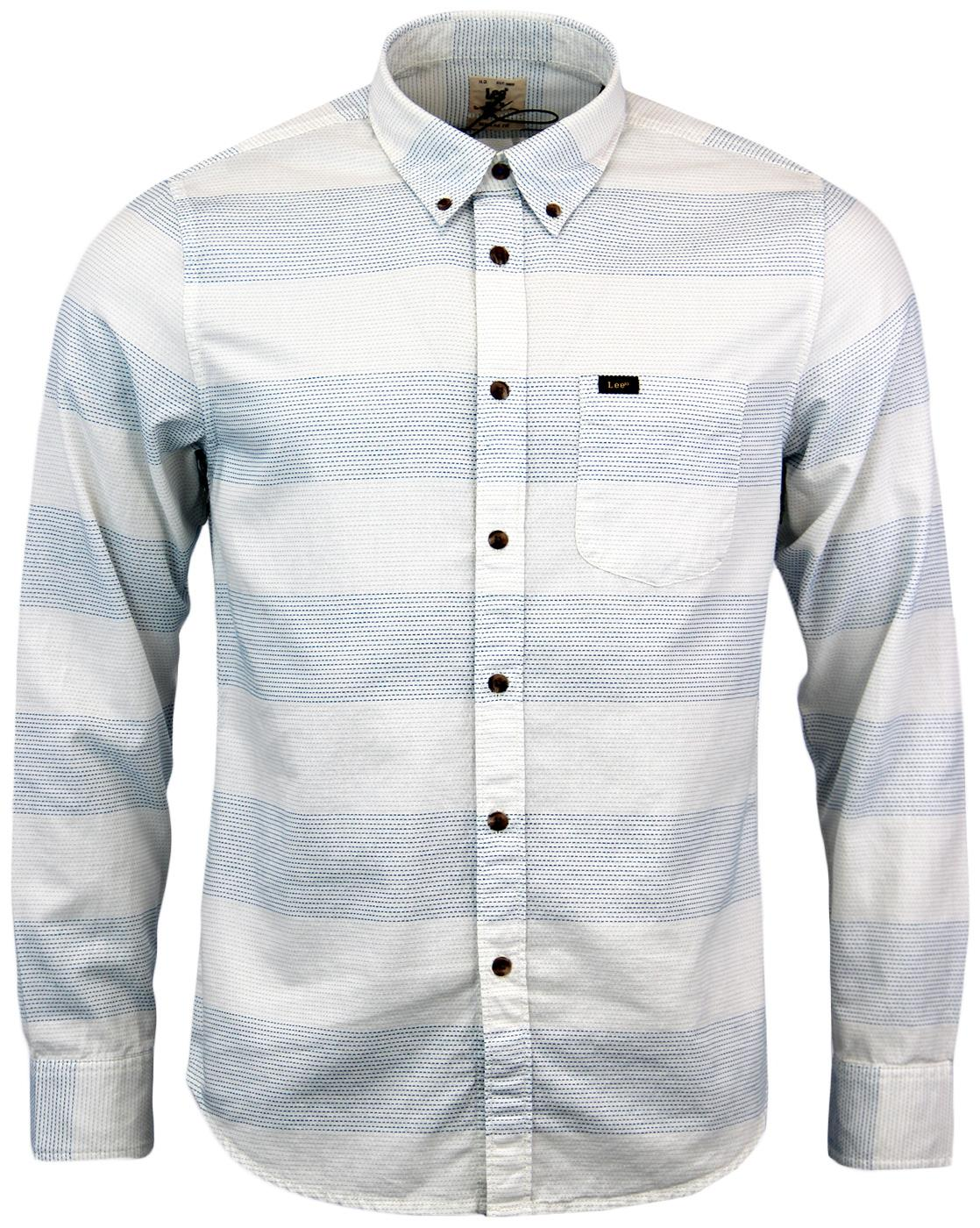 LEE Retro Mod Button Down Cloud Dancer Shirt W/B