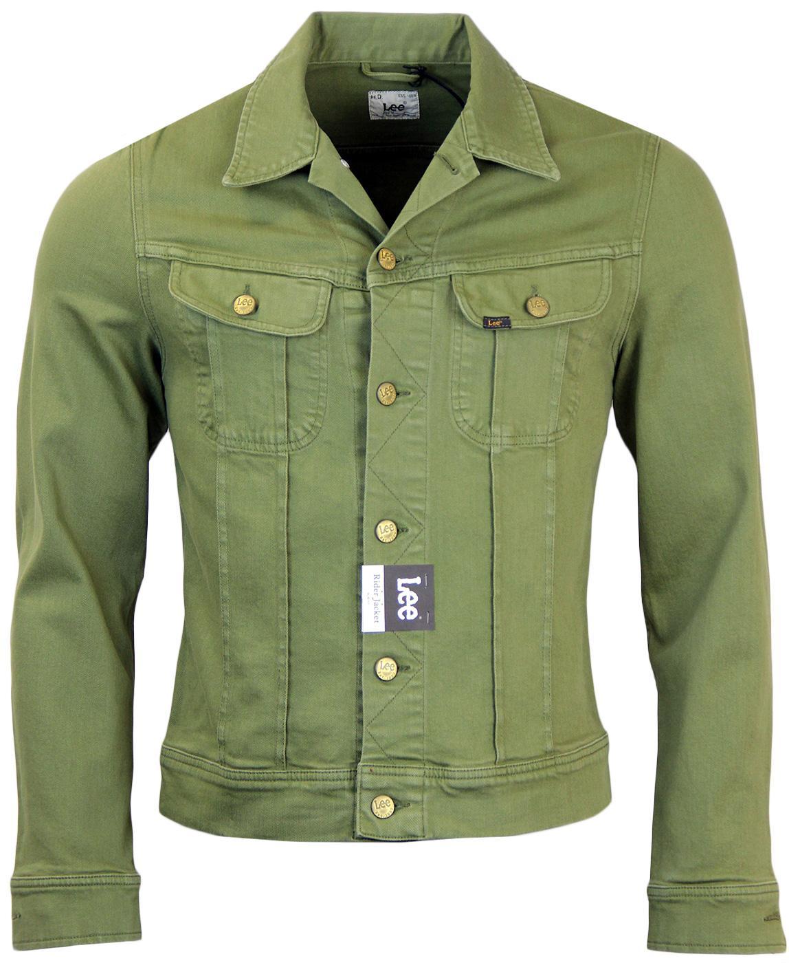 c84cb537b61 LEE Rider Retro 60s Mod Slim Fit Denim Jacket in Green