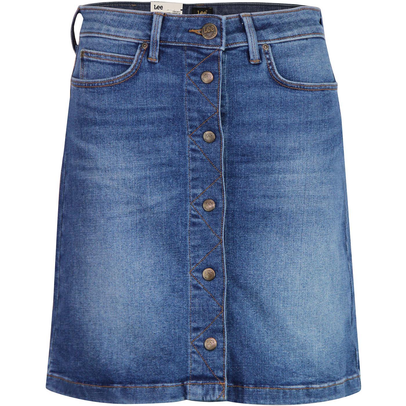 LEE JEANS Retro Button Front A-Line Denim Skirt