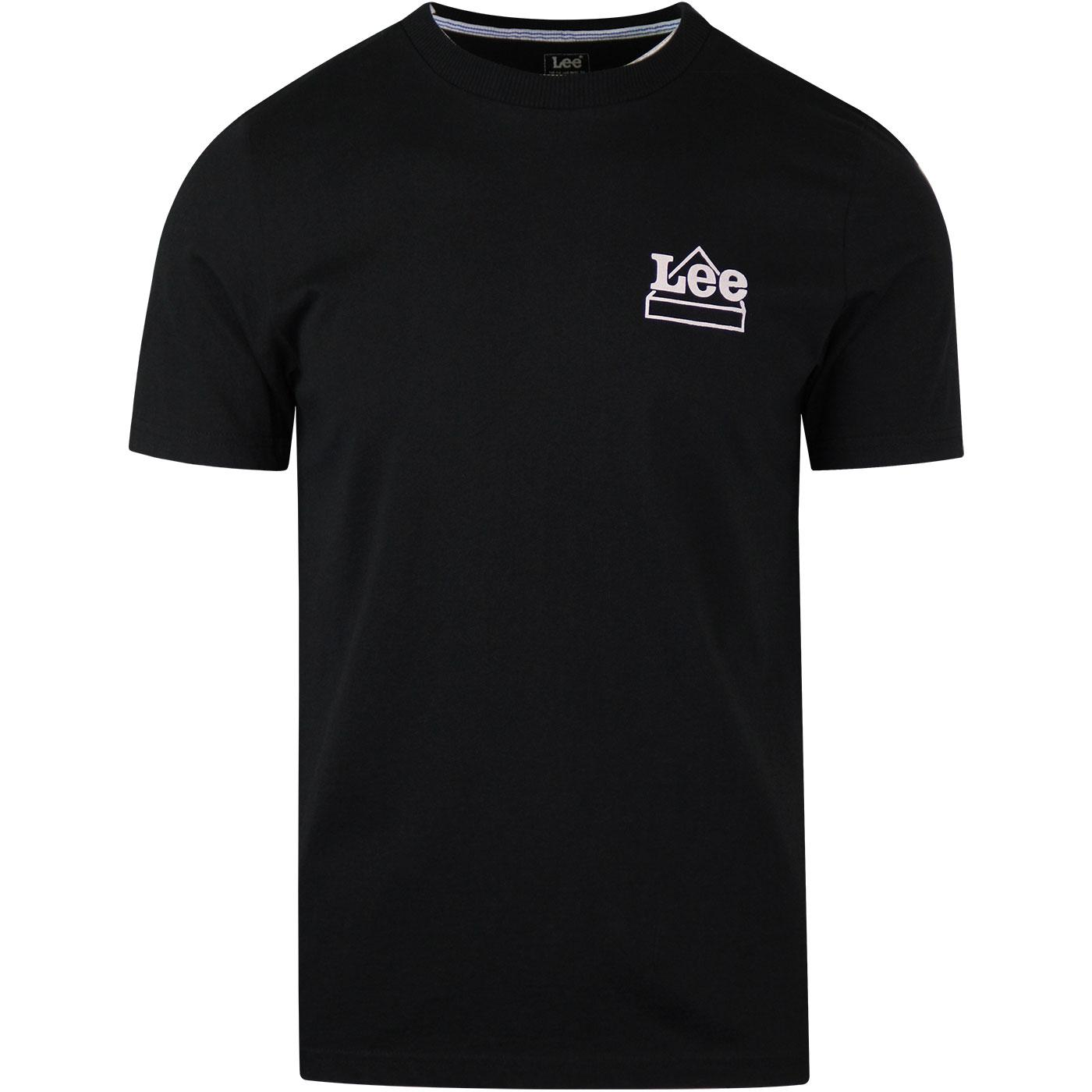 LEE Men's Retro 80s Crew Neck Logo T-shirt (Black)