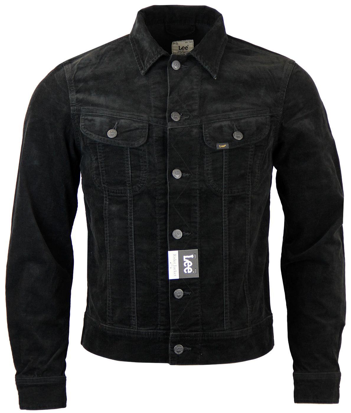 6fad9126 LEE Rider Retro 60s Mod Slim Fit Cord Western Jacket in Black