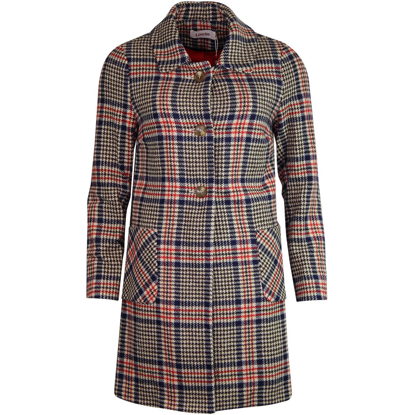 Dryden LOUCHE 1960s Retro Check Collared Coat