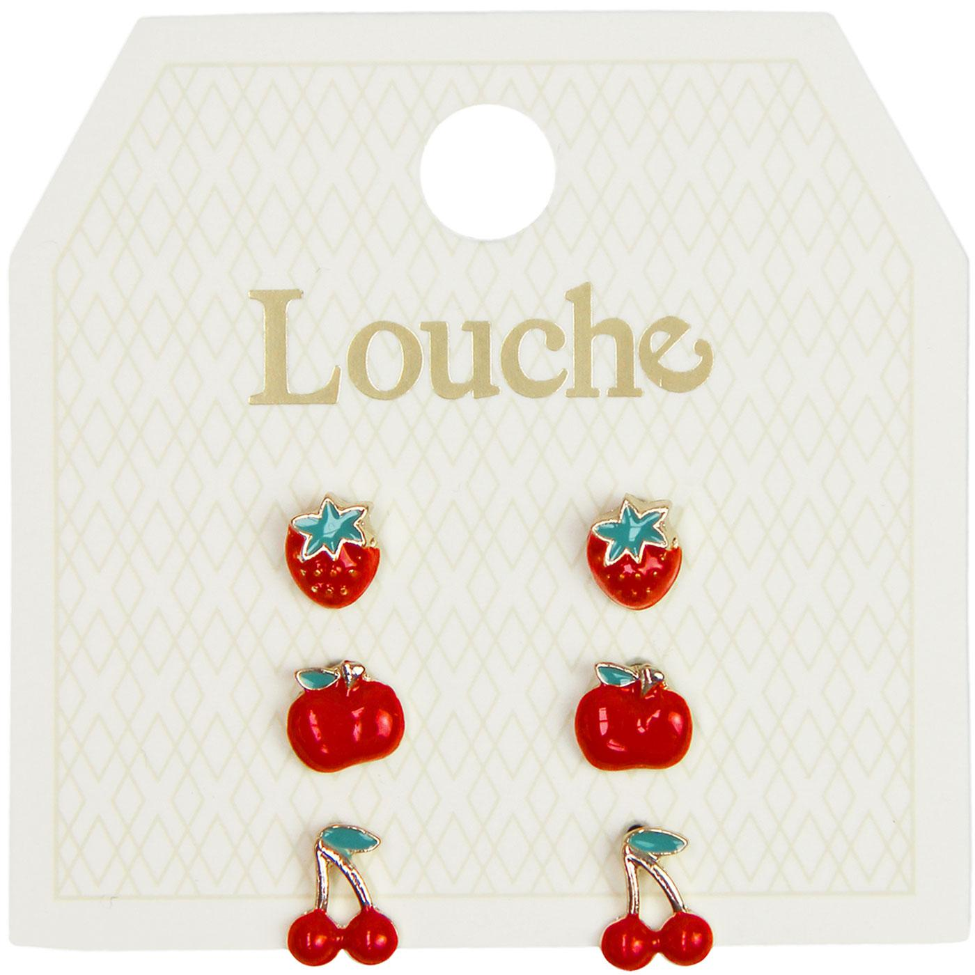 Thorn LOUCHE 3 Pairs Of Retro Red Fruit Earrings