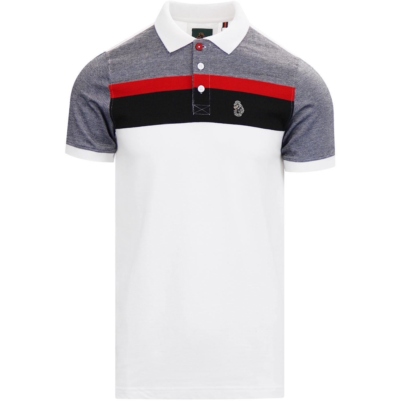 Grayson LUKE Mod Sport Stripe Polo Shirt (White)