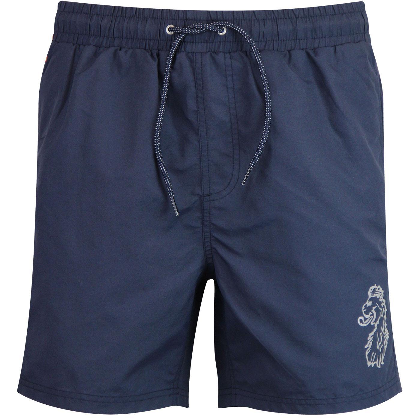 Fuse LUKE Reflective Logo Print Swim Shorts NAVY