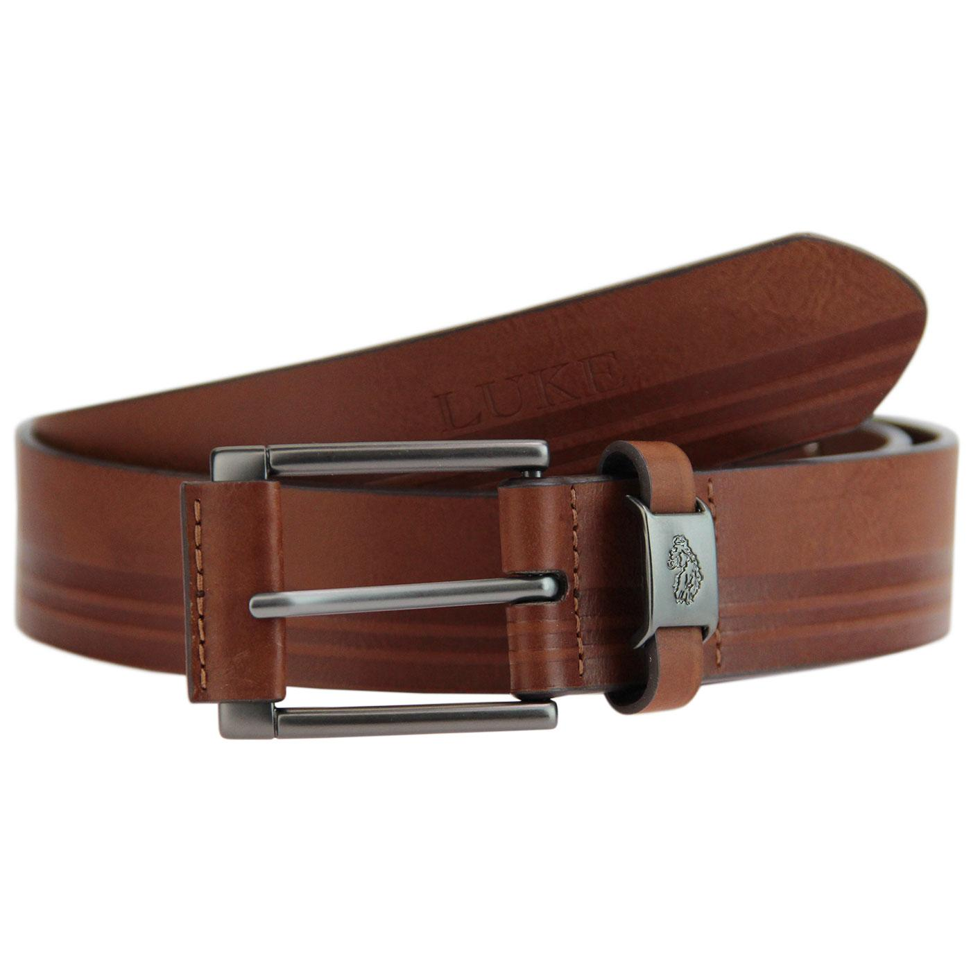 Staple LUKE Retro Tonal Embossed Stripe Belt BROWN